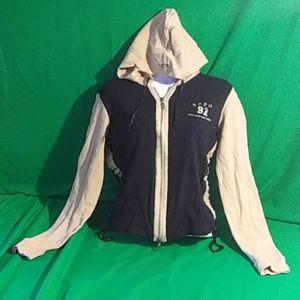 Bcbg maxazria M black/tan zip up hoodie